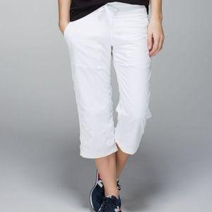 Lululemon White Lined Dance Studio Crops Size 6
